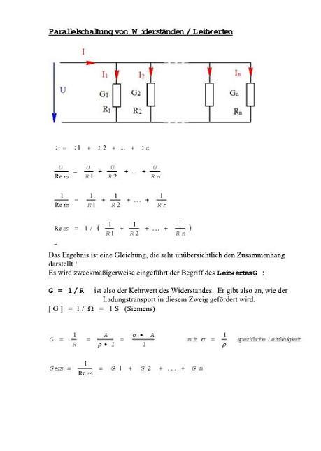 Reihenschaltung/ Parallelschaltung (Gleichwertig: Widerstand ...